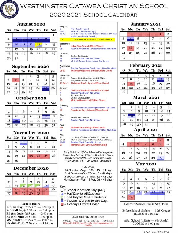 WCCS 2020-2021 Academic Calendar